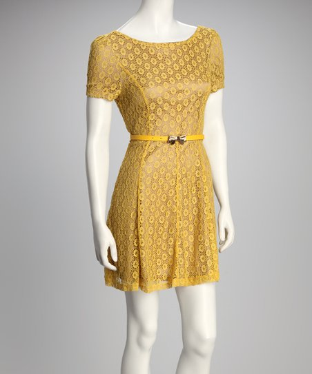 Yellow Polka Dot Lace Belted Dress