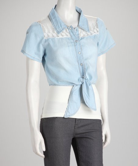 Denim Blue Daisy Lace Tie Short-Sleeve Top