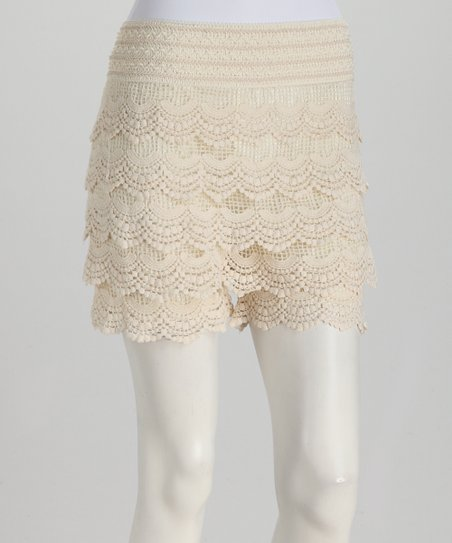 Ivory Scalloped Lace Shorts