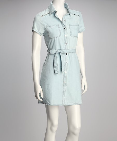 Pale Blue Denim Front-Tie Button-Up Dress
