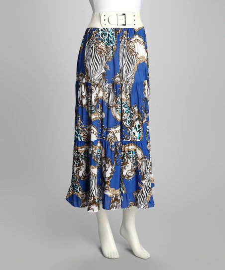 Blue Abstract Belted Skirt