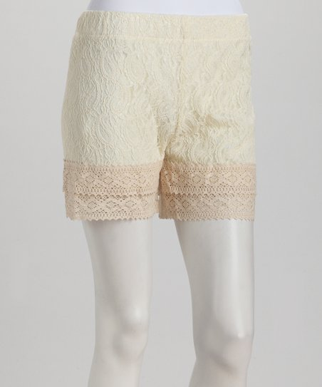 Ivory &amp; Nude Lace Shorts