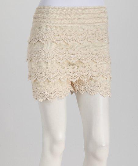 Ivory Tiered Crochet Lace Shorts