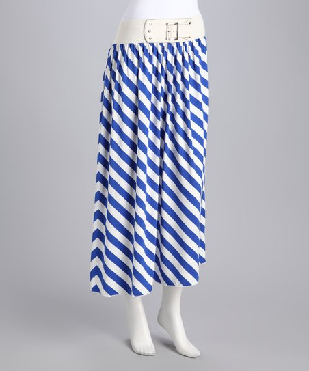 Blue Stripe Belted Maxi Skirt