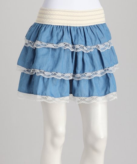 Denim Blue Tiered Skirt