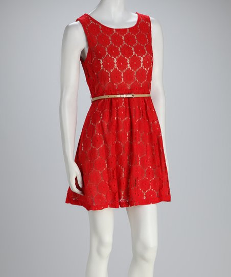 Red Flower Lace Belted Dress