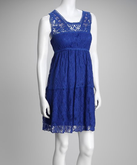 Blue Crochet Lace Dress