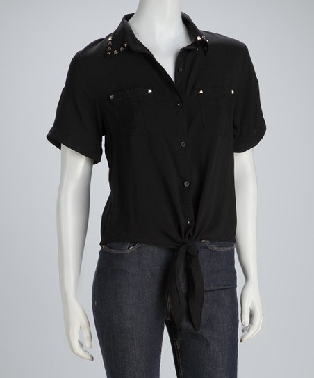 Black Studded Tie-Waist Top