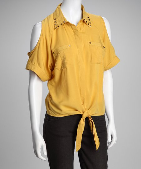 Yellow Studded Front-Tie Button-Up Top