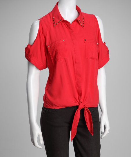 Red Tie-Waist Cutout Top