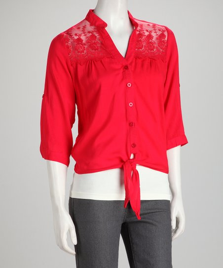 Red Lace Button-Up Top