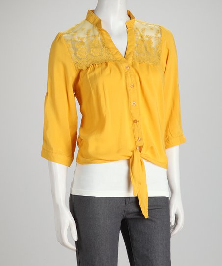 Gold Lace Button-Up Top