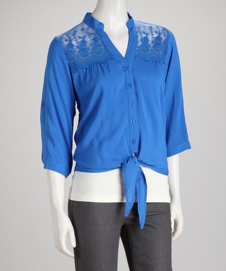 Blue Lace Button-Up Top