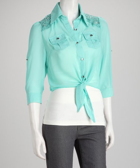 Mint Lace Tie Top