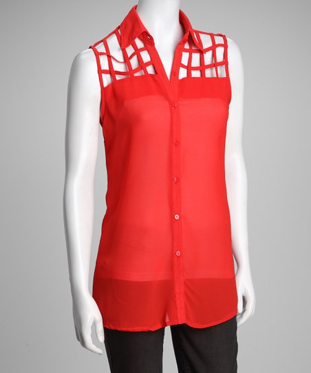 Red Lattice Sleeveless Top