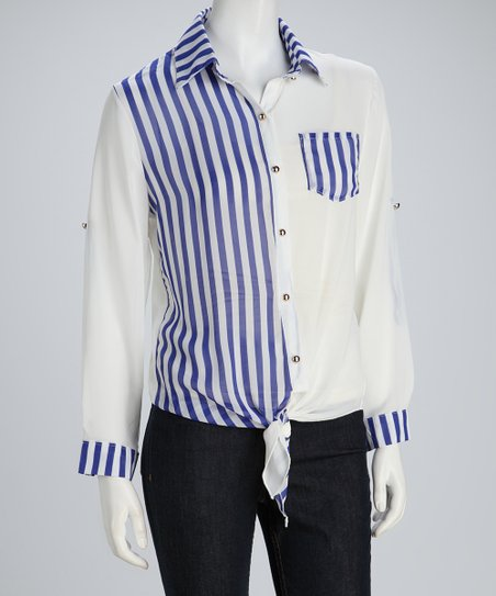 Blue Sheer Stripe Tie-Waist Button-Up Top