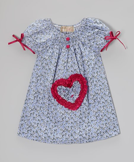 Blue & Fuchsia Floral Heart Dress - Toddler & Girls