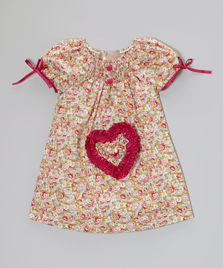 Coral & Fuchsia Floral Heart Dress - Toddler & Girls