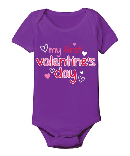Purple 'My First Valentine's Day' Bodysuit - Infant