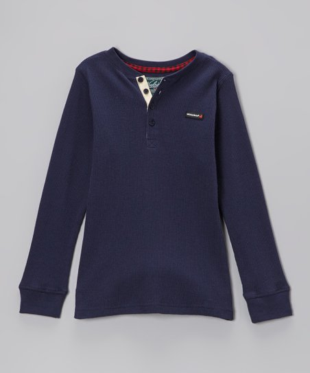 Navy Thermal Henley - Infant, Toddler & Boys