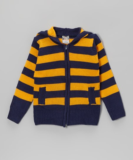 Navy & Gold Stripe Zip-Up Hoodie - Boys