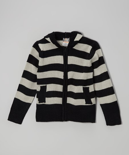Black & Gray Stripe Zip-Up Hoodie - Boys