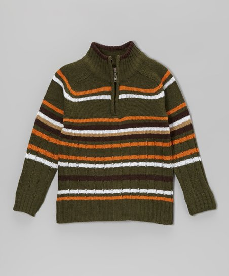Olive & Charcoal Stripe Pullover - Toddler & Boys