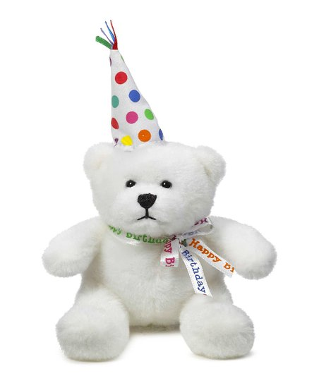 White & Beige Birthday Musical Bear