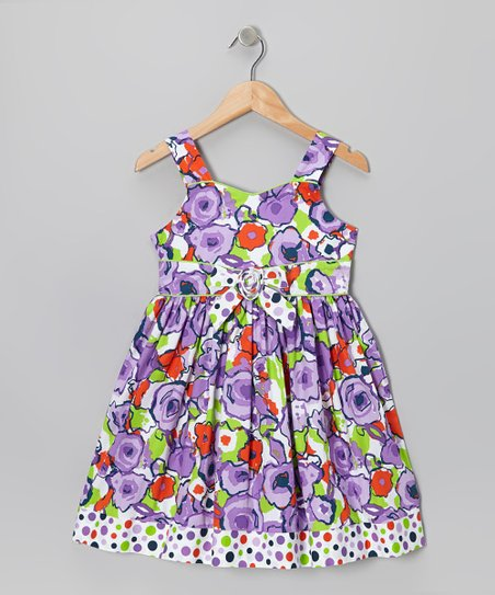 Purple Watercolor Floral Dress - Girls