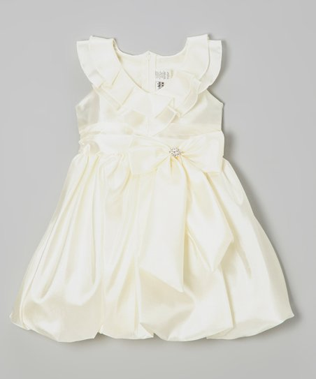 Ivory Bow Taffeta Ruffle Dress - Toddler & Girls