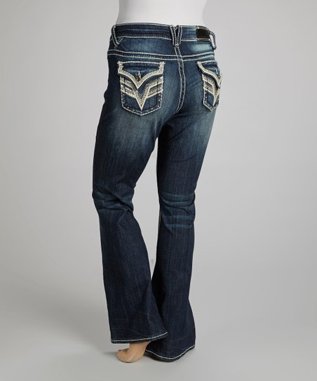 Dark Wash Rhinestone New York Bootcut Jeans - Plus