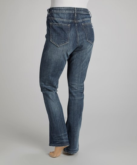 Dark Wash Destructed Straight-Leg Jeans - Plus