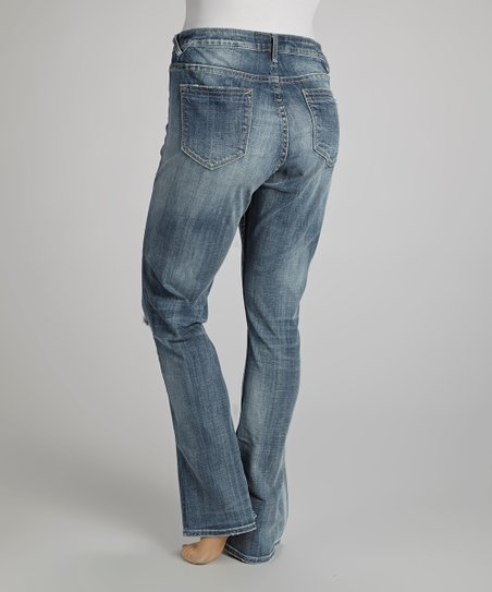 Light Wash Destructed Straight-Leg Jeans - Plus