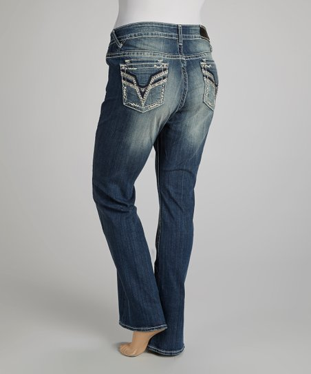 Medium Tint Studded Dublin Bootcut Jeans - Plus