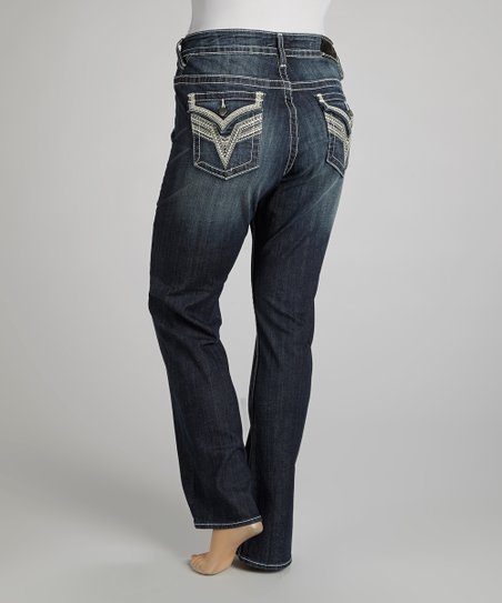 Dark Wash Embroidered New York Straight-Leg Jeans - Plus