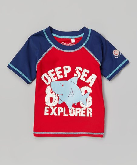 Blue & Red 'Deep Sea' Sun Alert Rashguard - Infant