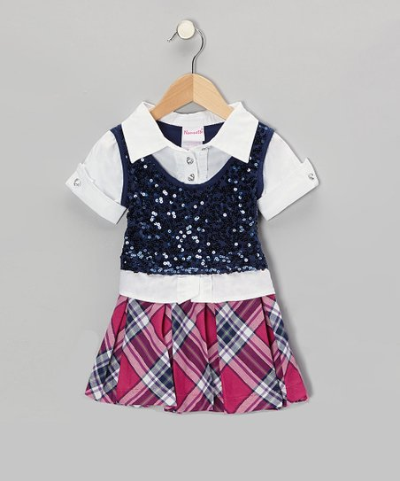 Blue Layered Dress - Infant, Toddler & Girls