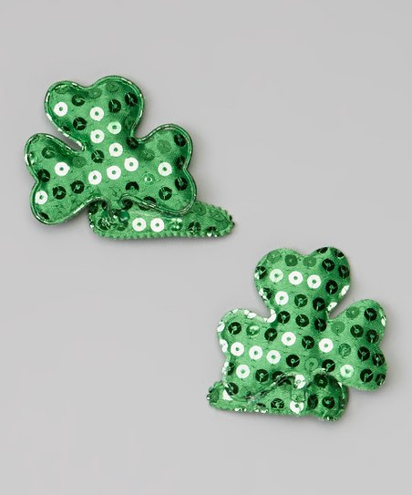 Green Sequin Shamrock Clip Set