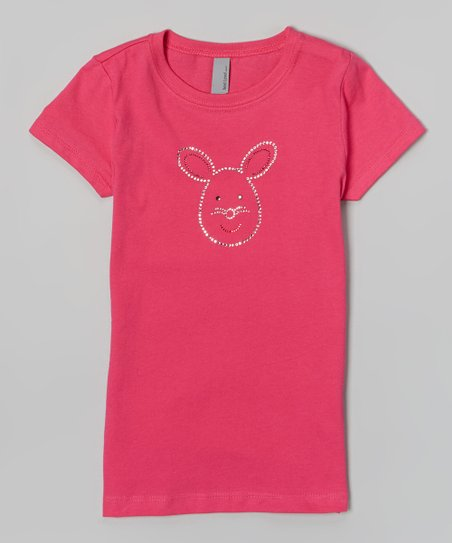 Raspberry Rhinestone Bunny Tee – Girls & Women