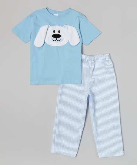 Blue & White Floppy Bunny Tee & Pants - Infant, Toddler & Boys