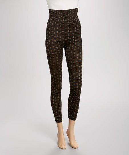 Black & Coffee Brown Cross Leggings - Women