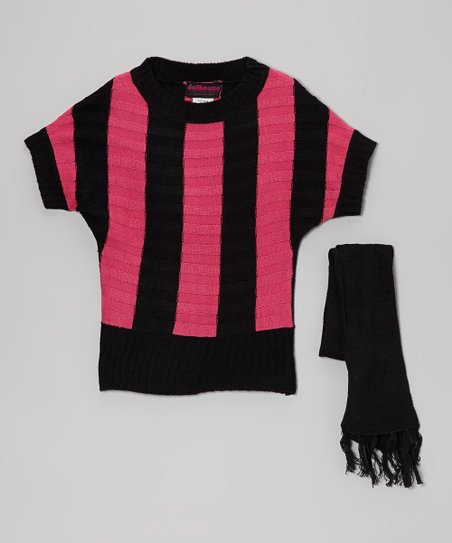 Black & Pink Stripe Sweater & Scarf - Toddler & Girls