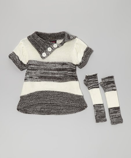 Gray Stripe Split-Neck Sweater & Arm Warmers - Toddler & Girls