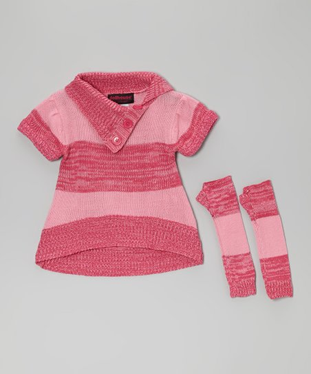 Pink Stripe Split-Neck Sweater & Arm Warmers - Toddler