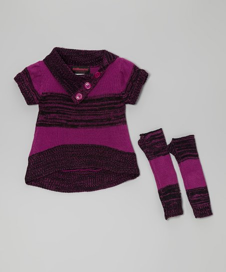 Purple Stripe Split-Neck Sweater & Arm Warmers - Toddler & Girls