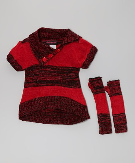 Red Stripe Split-Neck Sweater & Arm Warmers - Toddler