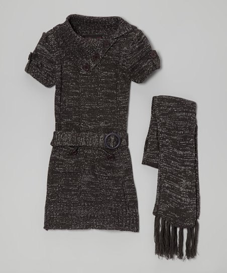 Gray Sparkle Belted Split-Neck Sweater Dress & Scarf - Girls