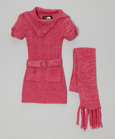 Pink Sparkle Belted Split-Neck Sweater Dress & Scarf - Girls