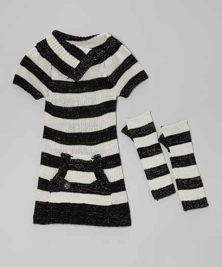 Black & Gray Stripe Pocket Sweater Dress & Arm Warmers - Girls