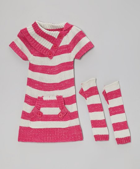 Pink & Gray Stripe Pocket Sweater Dress & Arm Warmers - Girls